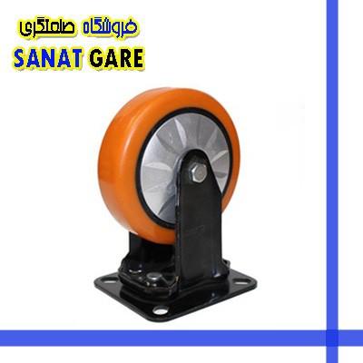 چرخ های پایه مشکی نارنجی بلبرینگی و قاب دار سایز 150گردان