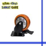 چرخ پایه مشکی نارنجی بلبرینگی و قاب دار سایز 75 ترمزدار