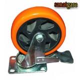چرخ های پایه مشکی نارنجی بلبرینگی و قاب دار سایز 125 ترمزدار